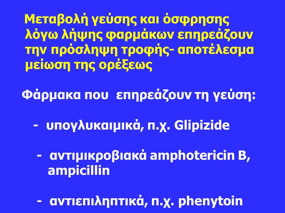 Μεταβολή γεύσης και όσφρησης λόγω λήψης φαρμάκων επηρεάζουν την πρόσληψη τροφής- αποτέλεσμα μείωση της ορέξεως Φάρμακα που επηρεάζουν τη γεύση: - υπογλυκαιμικά, π.χ.