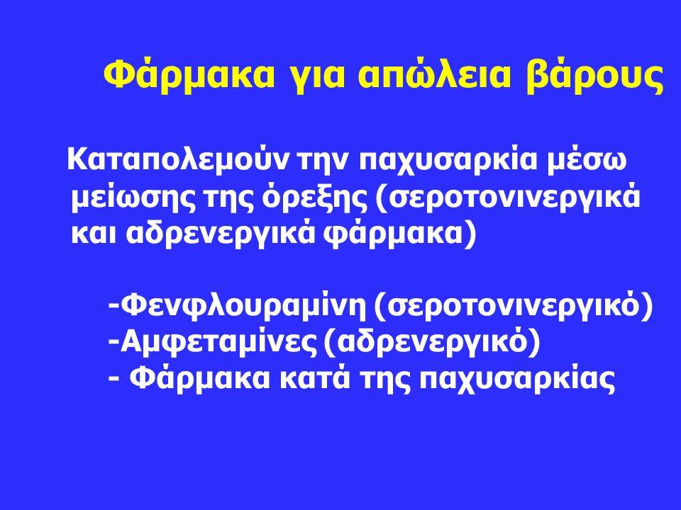 Φάρμακα για απώλεια βάρους Καταπολεμούν την παχυσαρκία μέσω μείωσης της όρεξης (σεροτονινεργικά και αδρενεργικά φάρμακα) -Φενφλουραμίνη (σεροτονινεργικό) -Αμφεταμίνες (αδρενεργικό) - Φάρμακα κατά της παχυσαρκίας