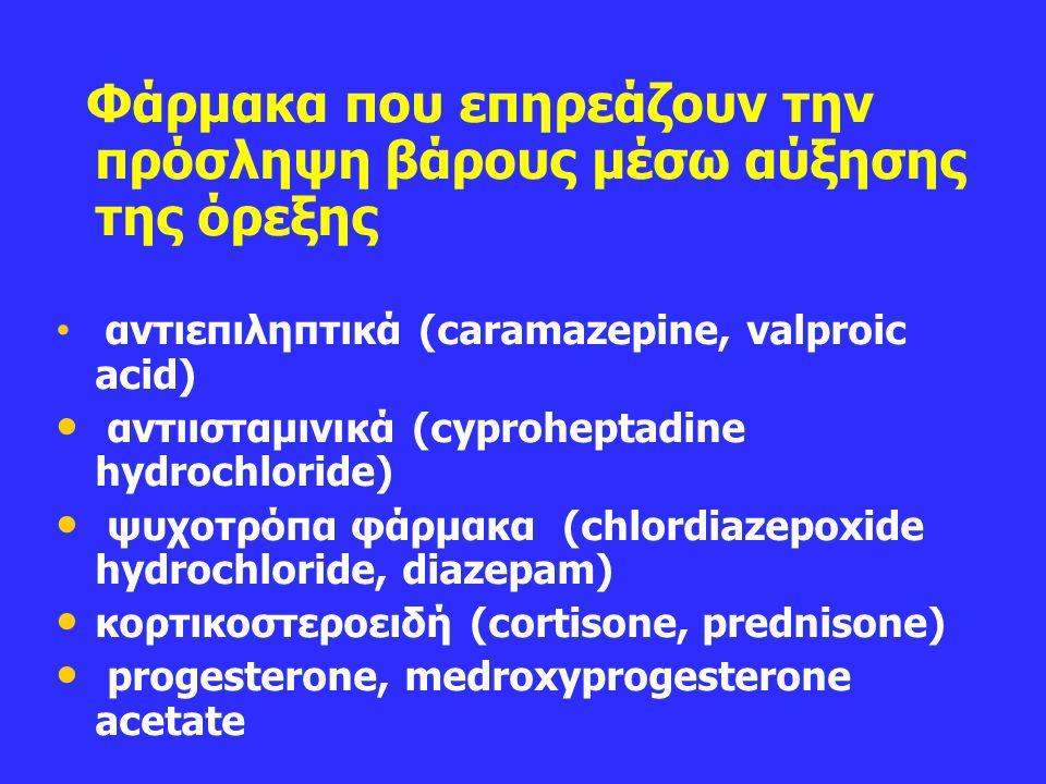 Φάρμακα που επηρεάζουν την πρόσληψη βάρους μέσω αύξησης της όρεξης αντιεπιληπτικά (caramazepine, valproic acid) αντιισταμινικά (cyproheptadine hydrochloride) ψυχοτρόπα φάρμακα (chlordiazepoxide hydrochloride, diazepam) κορτικοστεροειδή (cortisone, prednisone) progesterone, medroxyprogesterone acetate