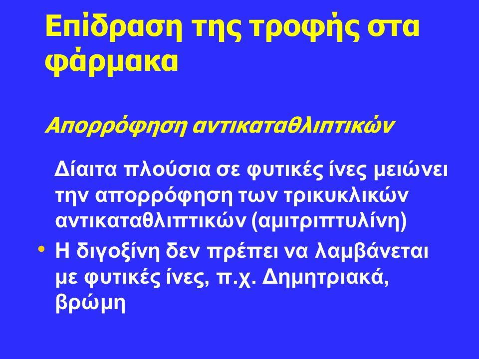 Επίδραση της τροφής στα φάρμακα Aπορρόφηση αντικαταθλιπτικών Δίαιτα πλούσια σε φυτικές ίνες μειώνει την απορρόφηση των τρικυκλικών αντικαταθλιπτικών (αμιτριπτυλίνη) Η διγοξίνη δεν πρέπει να λαμβάνεται με φυτικές ίνες, π.χ.