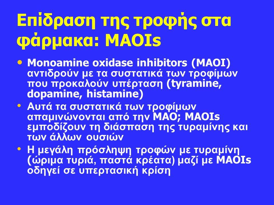 Επίδραση της τροφής στα φάρμακα: MAOIs Monoamine oxidase inhibitors (MAOI) αντιδρούν με τα συστατικά των τροφίμων που προκαλούν υπέρταση (tyramine, dopamine, histamine) Αυτά τα συστατικά των τροφίμων απαμινώνονται από την MAO; MAOIs εμποδίζουν τη διάσπαση της τυραμίνης και των άλλων ουσιών Η μεγάλη πρόσληψη τροφών με τυραμίνη ( ώριμα τυριά, παστά κρέατα) μαζί με MAOIs οδηγεί σε υπερτασική κρίση