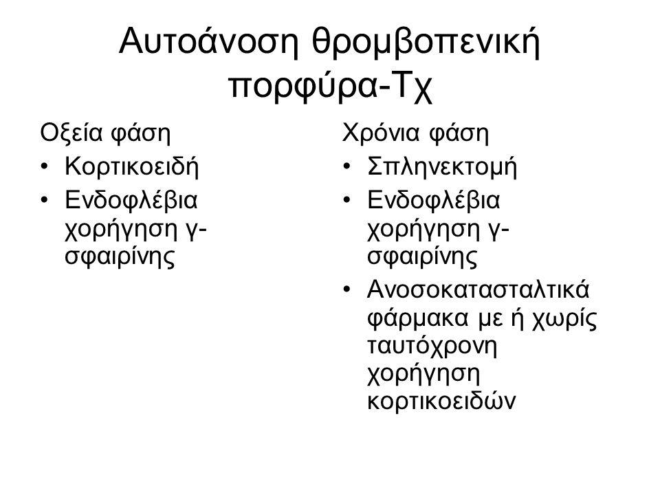 Αυτοάνοση θρομβοπενική πορφύρα-Τχ Οξεία φάση Κορτικοειδή Ενδοφλέβια χορήγηση γ- σφαιρίνης Χρόνια φάση Σπληνεκτομή Ενδοφλέβια χορήγηση γ- σφαιρίνης Ανοσοκατασταλτικά φάρμακα με ή χωρίς ταυτόχρονη χορήγηση κορτικοειδών