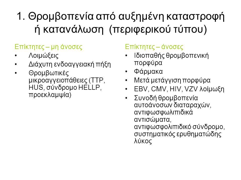 Κλινική εικόνα Αιμορραγία στη θρομβοπενία μόνο εάν είναι <50.000/μL Eάν >50.000/μL και ο ασθενής αιμορραγεί: +θρομβοπάθεια ή άλλη αιμοστατική διαταραχή Αιμοπετάλια <10.000/μl, αίτιο αυτόματων αιμορραγιών Στις θρομβοπάθειες, οι αιμορραγικές εκδηλώσεις είναι ανεξάρτητες του αριθμού των αιμοπεταλίων –Πετέχειες-εκχυμώσεις –Αιμορραγία από βλεννογόνους (επίσταξη, ρινορραγία, ουλορραγία): έλεγχος πάντα του στοματικού βλενογόννου –Μηνο-μητρορραγία –Αιμορραγία πεπτικού –Αιμορραγία ΚΝΣ (μπορεί θανατηφόρος)