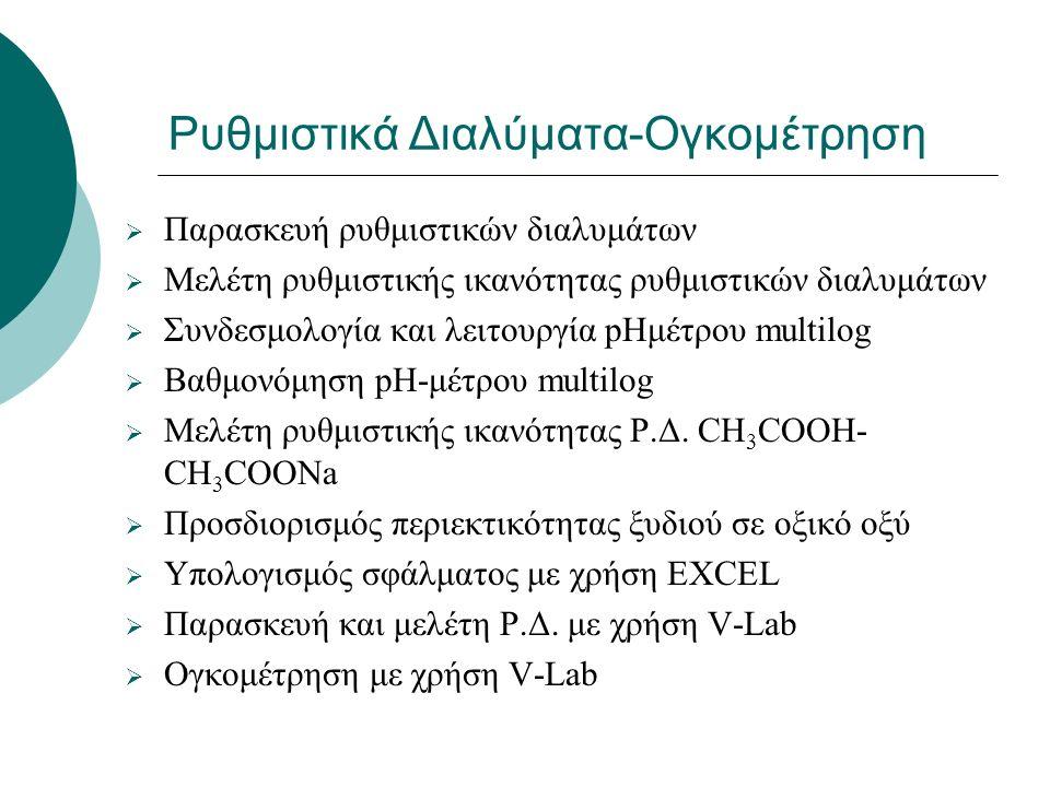 Ρυθμιστικά Διαλύματα-Ογκομέτρηση  Παρασκευή ρυθμιστικών διαλυμάτων  Μελέτη ρυθμιστικής ικανότητας ρυθμιστικών διαλυμάτων  Συνδεσμολογία και λειτουργία pHμέτρου multilog  Βαθμονόμηση pΗ-μέτρου multilog  Μελέτη ρυθμιστικής ικανότητας Ρ.Δ.