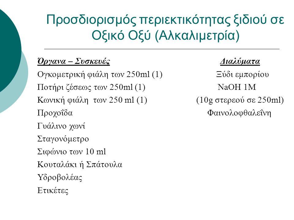 1.Με σιφώνιο πλήρωσης λαμβάνουμε 10ml ξυδιού σε κωνική φιάλη 2.Προσθέτουμε με κύλινδρο 90ml νερού 3.Προσθέτουμε 5-6 σταγόνες δείκτη φαινολοφθαλεΐνη 4.Προσθέτουμε από την προχοΐδα πρότυπο διάλυμα ΝαΟΗ 1Μ 5.Επαναλαμβάνουμε τη διαδικασία 2 φορές Προσδιορισμός περιεκτικότητας ξιδιού σε Οξικό Οξύ (Αλκαλιμετρία)