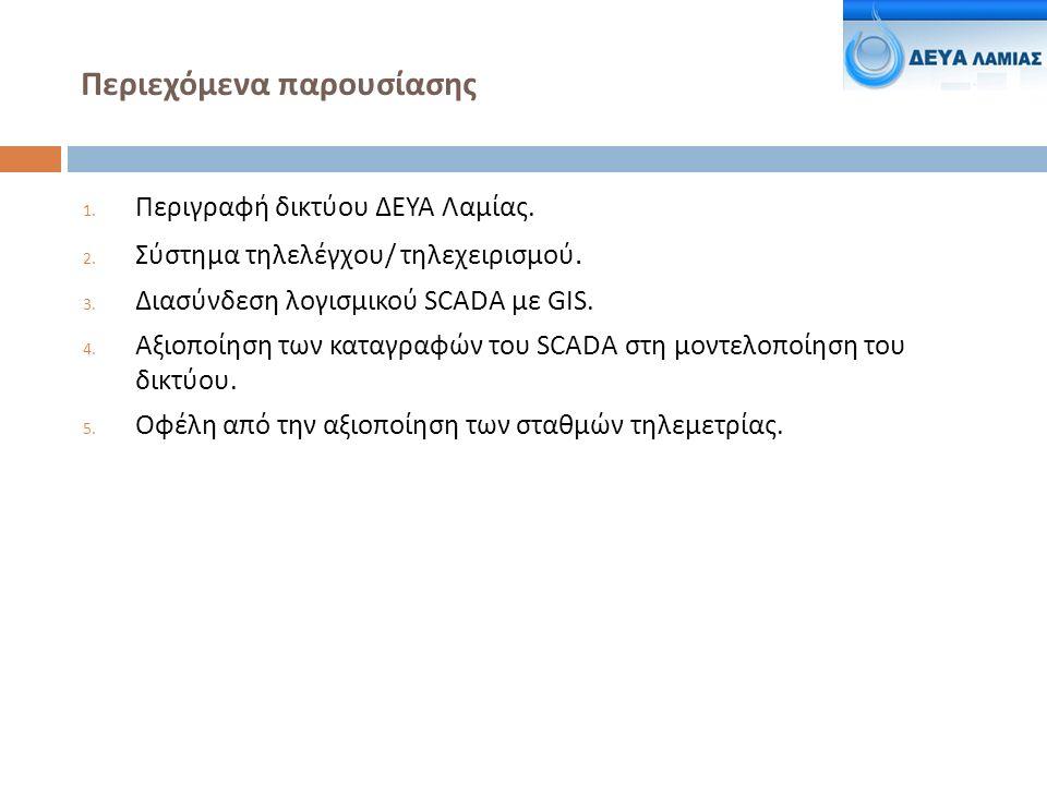 Περιεχόμενα παρουσίασης 1. Περιγραφή δικτύου ΔΕΥΑ Λαμίας.
