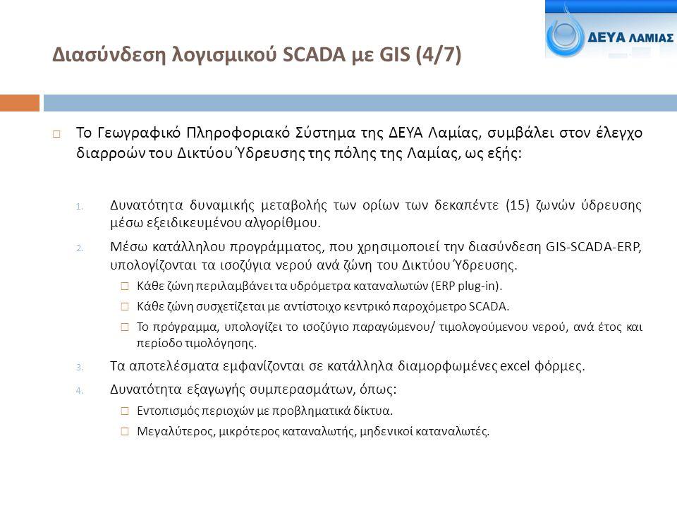 Διασύνδεση λογισμικού SCADA με GIS (4/7)  Το Γεωγραφικό Πληροφοριακό Σύστημα της ΔΕΥΑ Λαμίας, συμβάλει στον έλεγχο διαρροών του Δικτύου Ύδρευσης της πόλης της Λαμίας, ως εξής : 1.