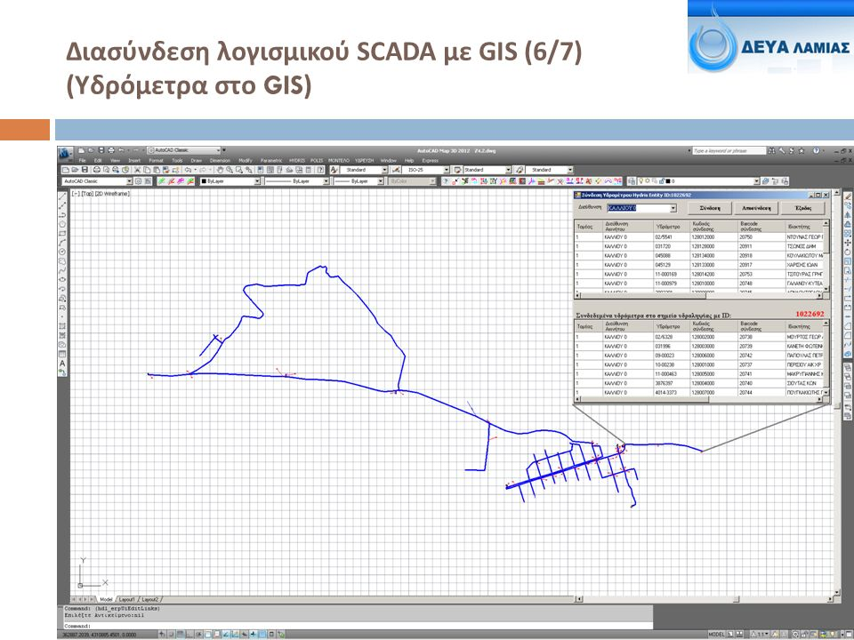 Διασύνδεση λογισμικού SCADA με GIS (6/7) ( Υδρόμετρα στο GIS)