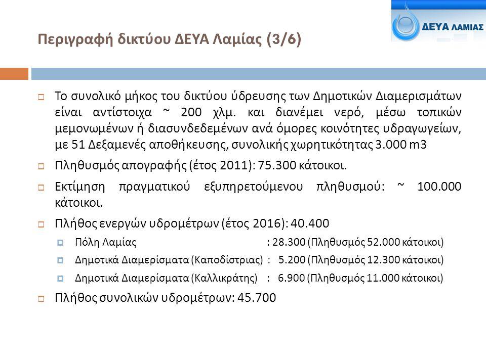 Περιγραφή δικτύου ΔΕΥΑ Λαμίας ( 4/6 )  Παραγόμενο νερό ( έτος 2015):  6.800.000 m3 ( 18.600 m3/ημέρα) για τα 28.300 υδρόμετρα Πόλης Λαμίας.
