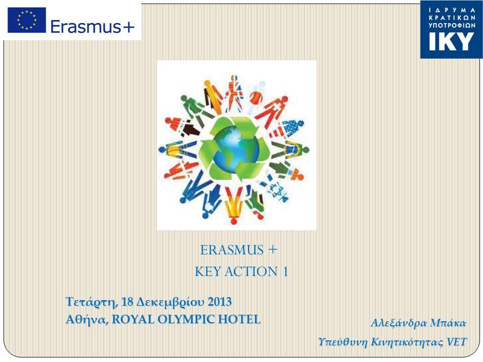 Τετάρτη, 18 Δεκεμβρίου 2013 Αθήνα, ROYAL OLYMPIC HOTEL Αλεξάνδρα Μπάκα Υπεύθυνη Κινητικότητας VET ERASMUS + KEY ACTION 1