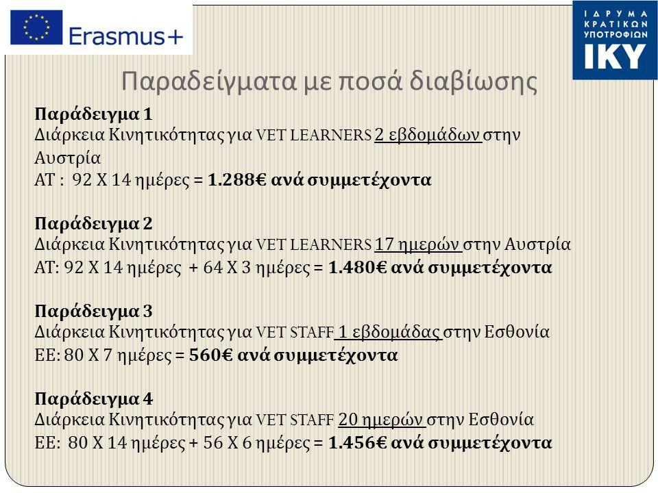 Παραδείγματα με ποσά διαβίωσης Παράδειγμα 1 Διάρκεια Κινητικότητας για VET LEARNERS 2 εβδομάδων στην Αυστρία ΑΤ : 92 Χ 14 ημέρες = 1.288€ ανά συμμετέχοντα Παράδειγμα 2 Διάρκεια Κινητικότητας για VET LEARNERS 17 ημερών στην Αυστρία ΑΤ : 92 Χ 14 ημέρες + 64 Χ 3 ημέρες = 1.480€ ανά συμμετέχοντα Παράδειγμα 3 Διάρκεια Κινητικότητας για VET STAFF 1 εβδομάδας στην Εσθονία ΕΕ : 80 Χ 7 ημέρες = 560€ ανά συμμετέχοντα Παράδειγμα 4 Διάρκεια Κινητικότητας για VET STAFF 20 ημερών στην Εσθονία ΕΕ : 80 Χ 14 ημέρες + 56 Χ 6 ημέρες = 1.456€ ανά συμμετέχοντα