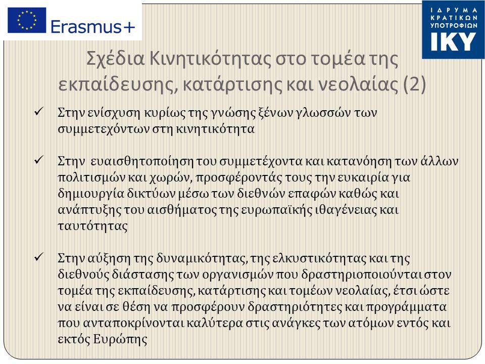 Σχέδια Κινητικότητας στο τομέα της εκπαίδευσης, κατάρτισης και νεολαίας (2) Στην ενίσχυση κυρίως της γνώσης ξένων γλωσσών των συμμετεχόντων στη κινητικότητα Στην ευαισθητοποίηση του συμμετέχοντα και κατανόηση των άλλων πολιτισμών και χωρών, προσφέροντάς τους την ευκαιρία για δημιουργία δικτύων μέσω των διεθνών επαφών καθώς και ανάπτυξης του αισθήματος της ευρωπαϊκής ιθαγένειας και ταυτότητας Στην αύξηση της δυναμικότητας, της ελκυστικότητας και της διεθνούς διάστασης των οργανισμών που δραστηριοποιούνται στον τομέα της εκπαίδευσης, κατάρτισης και τομέων νεολαίας, έτσι ώστε να είναι σε θέση να προσφέρουν δραστηριότητες και προγράμματα που ανταποκρίνονται καλύτερα στις ανάγκες των ατόμων εντός και εκτός Ευρώπης