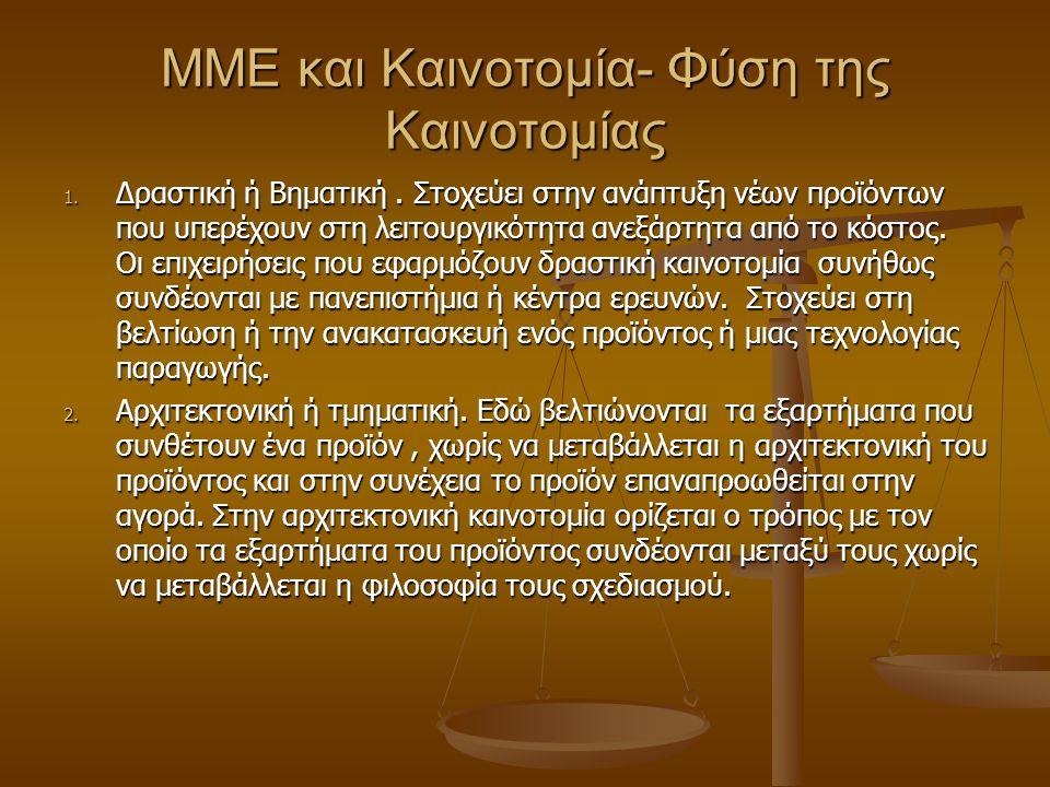 MME και Καινοτομία- Φύση της Καινοτομίας 1. Δραστική ή Βηματική.