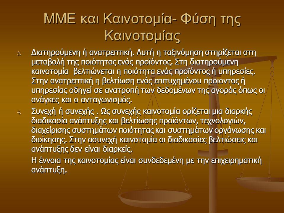 MME και Καινοτομία- Φύση της Καινοτομίας 3. Διατηρούμενη ή ανατρεπτική.