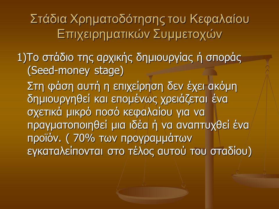 Στάδια Χρηματοδότησης του Κεφαλαίου Επιχειρηματικών Συμμετοχών 1)Το στάδιο της αρχικής δημιουργίας ή σποράς (Seed-money stage) Στη φάση αυτή η επιχείρηση δεν έχει ακόμη δημιουργηθεί και επομένως χρειάζεται ένα σχετικά μικρό ποσό κεφαλαίου για να πραγματοποιηθεί μια ιδέα ή να αναπτυχθεί ένα προϊόν.