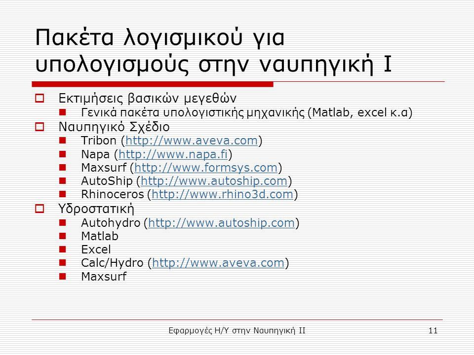 Εφαρμογές Η/Υ στην Ναυπηγική ΙΙ11 Πακέτα λογισμικού για υπολογισμούς στην ναυπηγική I  Εκτιμήσεις βασικών μεγεθών Γενικά πακέτα υπολογιστικής μηχανικής (Matlab, excel κ.α)  Ναυπηγικό Σχέδιο Tribon (http://www.aveva.com)http://www.aveva.com Napa (http://www.napa.fi)http://www.napa.fi Maxsurf (http://www.formsys.com)http://www.formsys.com AutoShip (http://www.autoship.com)http://www.autoship.com Rhinoceros (http://www.rhino3d.com)http://www.rhino3d.com  Υδροστατική Autohydro (http://www.autoship.com)http://www.autoship.com Matlab Excel Calc/Hydro (http://www.aveva.com)http://www.aveva.com Maxsurf