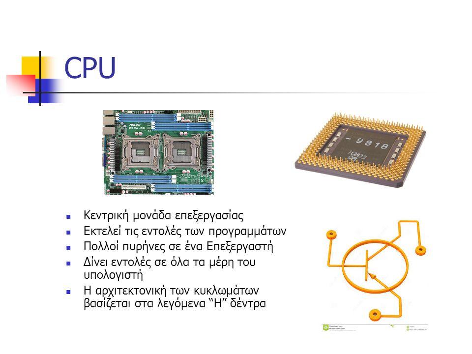 CPU Κεντρική μονάδα επεξεργασίας Εκτελεί τις εντολές των προγραμμάτων Πολλοί πυρήνες σε ένα Επεξεργαστή Δίνει εντολές σε όλα τα μέρη του υπολογιστή Η αρχιτεκτονική των κυκλωμάτων βασίζεται στα λεγόμενα H δέντρα
