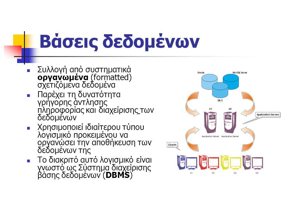 Βάσεις δεδομένων Συλλογή από συστηματικά οργανωμένα (formatted) σχετιζόμενα δεδομένα Παρέχει τη δυνατότητα γρήγορης άντλησης πληροφορίας και διαχείρισης των δεδομένων Χρησιμοποιεί ιδιαίτερου τύπου λογισμικό προκειμένου να οργανώσει την αποθήκευση των δεδομένων της Το διακριτό αυτό λογισμικό είναι γνωστό ως Σύστημα διαχείρισης βάσης δεδομένων (DBMS)