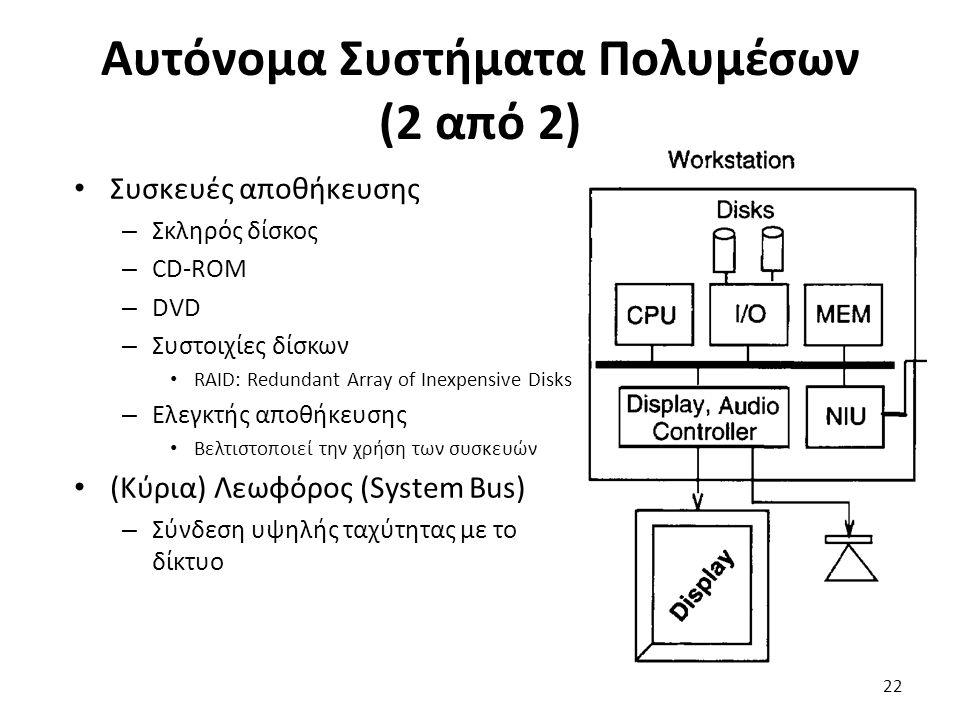Αυτόνομα Συστήματα Πολυμέσων (2 από 2) Συσκευές αποθήκευσης – Σκληρός δίσκος – CD-ROM – DVD – Συστοιχίες δίσκων RAID: Redundant Array of Inexpensive Disks – Ελεγκτής αποθήκευσης Βελτιστοποιεί την χρήση των συσκευών (Κύρια) Λεωφόρος (System Bus) – Σύνδεση υψηλής ταχύτητας με το δίκτυο 22