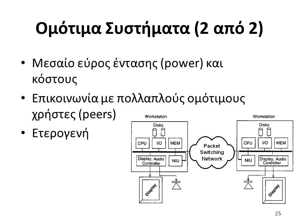 Ομότιμα Συστήματα (2 από 2) Μεσαίο εύρος έντασης (power) και κόστους Επικοινωνία με πολλαπλούς ομότιμους χρήστες (peers) Ετερογενή 25