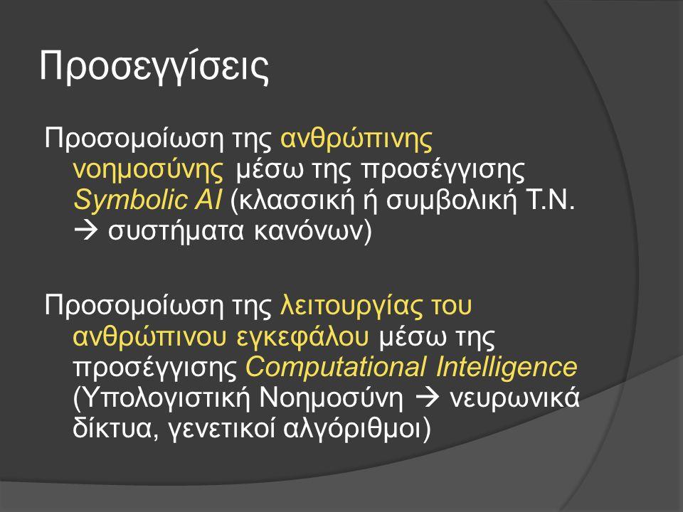 Προσεγγίσεις Προσομοίωση της ανθρώπινης νοημοσύνης μέσω της προσέγγισης Symbolic AI (κλασσική ή συμβολική Τ.Ν.