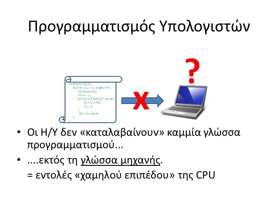 Προγραμματισμός Υπολογιστών Οι Η/Υ δεν «καταλαβαίνουν» καμμία γλώσσα προγραμματισμού.......εκτός τη γλώσσα μηχανής.