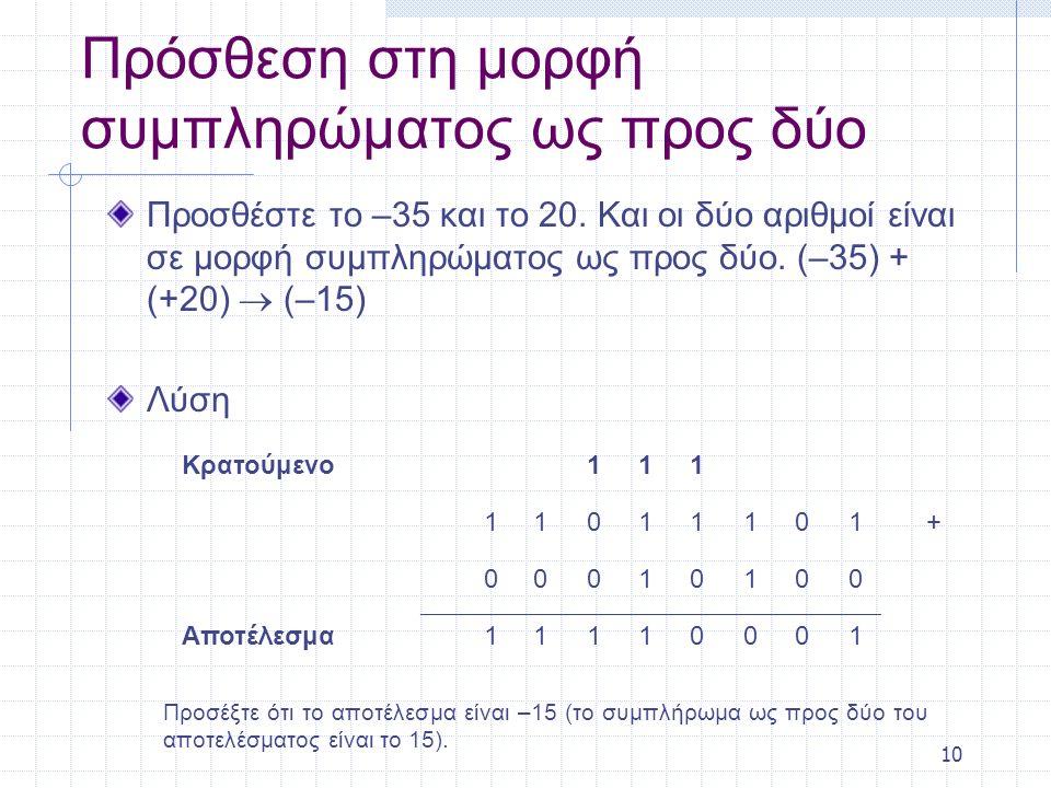 10 Πρόσθεση στη μορφή συμπληρώματος ως προς δύο Προσθέστε το –35 και το 20. Και οι δύο αριθμοί είναι σε μορφή συμπληρώματος ως προς δύο. (–35) + (+20)