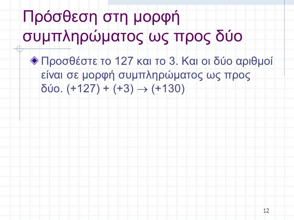 12 Πρόσθεση στη μορφή συμπληρώματος ως προς δύο Προσθέστε το 127 και το 3.