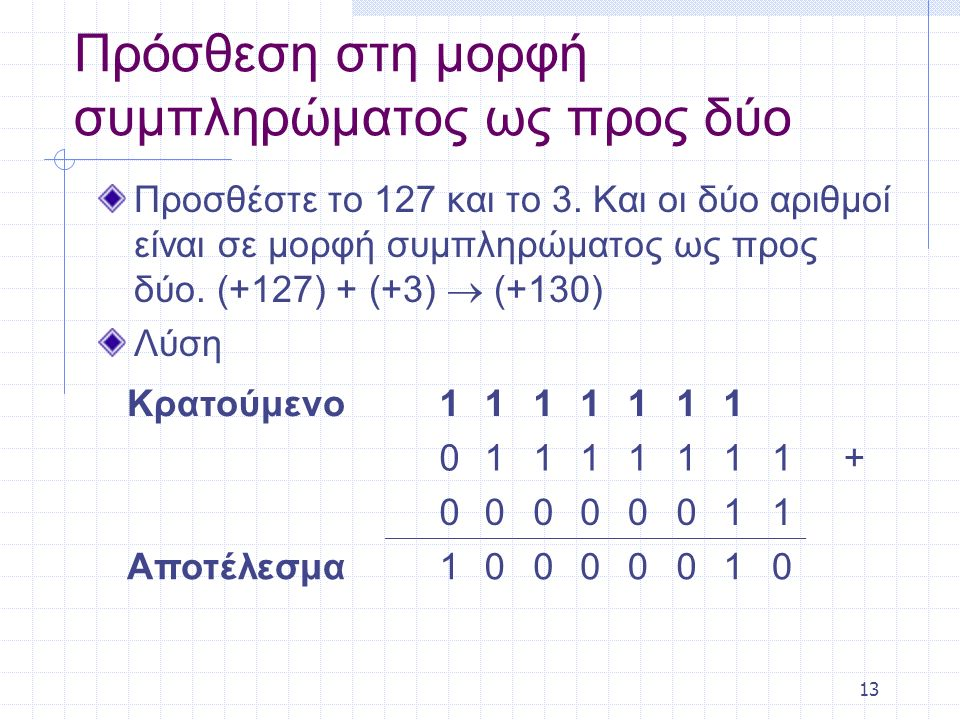 13 Πρόσθεση στη μορφή συμπληρώματος ως προς δύο Προσθέστε το 127 και το 3. Και οι δύο αριθμοί είναι σε μορφή συμπληρώματος ως προς δύο. (+127) + (+3)