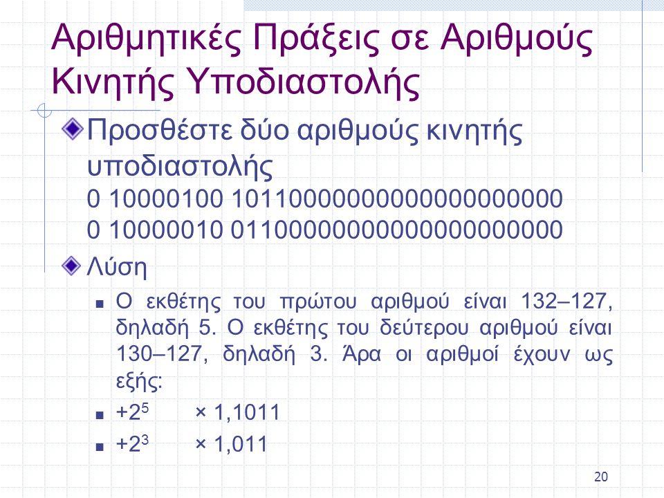 20 Αριθμητικές Πράξεις σε Αριθμούς Κινητής Υποδιαστολής Προσθέστε δύο αριθμούς κινητής υποδιαστολής 0 10000100 10110000000000000000000 0 10000010 01100000000000000000000 Λύση Ο εκθέτης του πρώτου αριθμού είναι 132–127, δηλαδή 5.