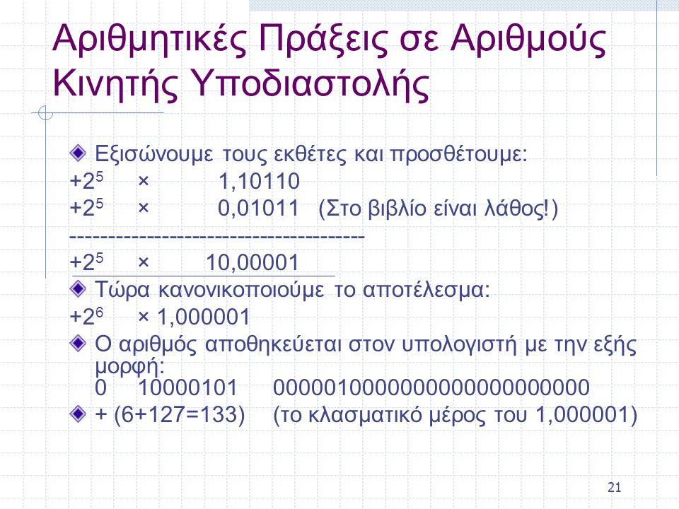 21 Αριθμητικές Πράξεις σε Αριθμούς Κινητής Υποδιαστολής Εξισώνουμε τους εκθέτες και προσθέτουμε: +2 5 × 1,10110 +2 5 × 0,01011 (Στο βιβλίο είναι λάθος!) --------------------------------------- +2 5 × 10,00001 Τώρα κανονικοποιούμε το αποτέλεσμα: +2 6 × 1,000001 O αριθμός αποθηκεύεται στον υπολογιστή με την εξής μορφή: 0 10000101 0000010000000000000000000 + (6+127=133)(το κλασματικό μέρος του 1,000001)