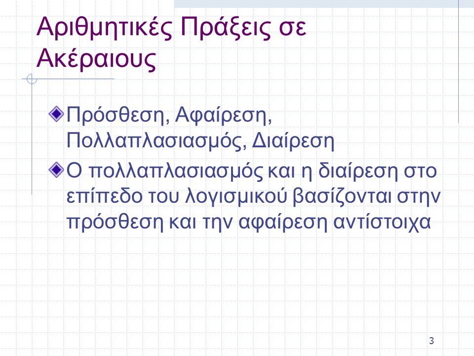 3 Αριθμητικές Πράξεις σε Ακέραιους Πρόσθεση, Αφαίρεση, Πολλαπλασιασμός, Διαίρεση Ο πολλαπλασιασμός και η διαίρεση στο επίπεδο του λογισμικού βασίζονται στην πρόσθεση και την αφαίρεση αντίστοιχα