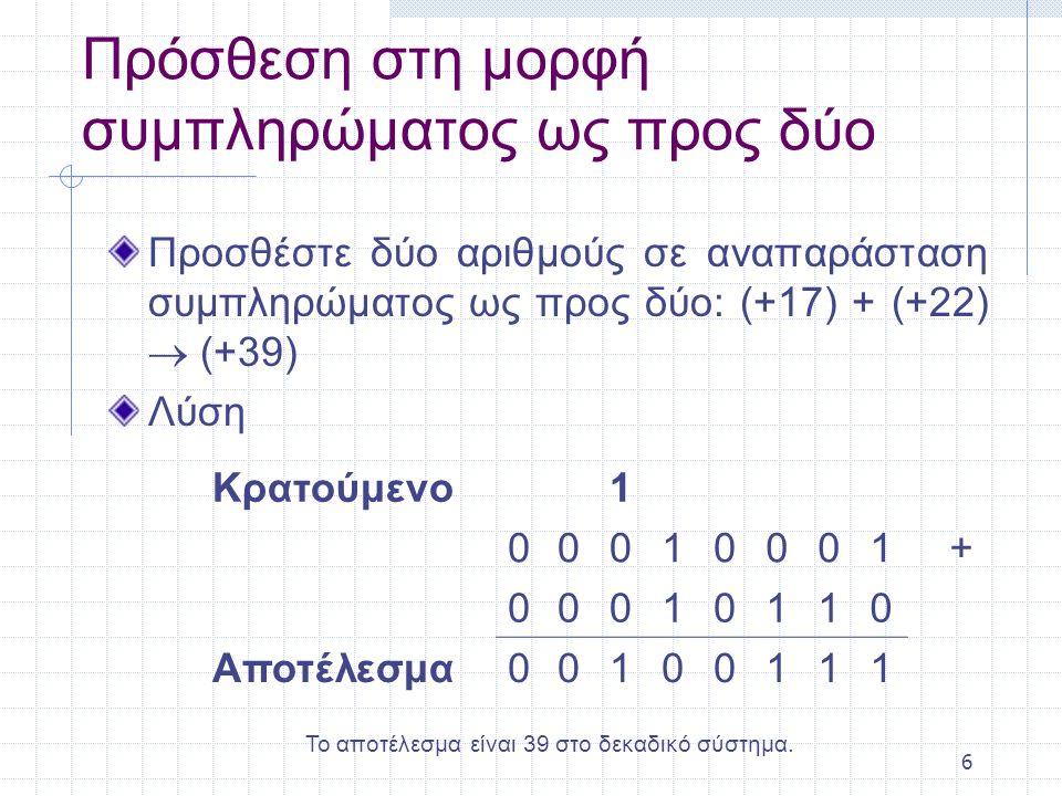 6 Πρόσθεση στη μορφή συμπληρώματος ως προς δύο Προσθέστε δύο αριθμούς σε αναπαράσταση συμπληρώματος ως προς δύο: (+17) + (+22)  (+39) Λύση Κρατούμενο