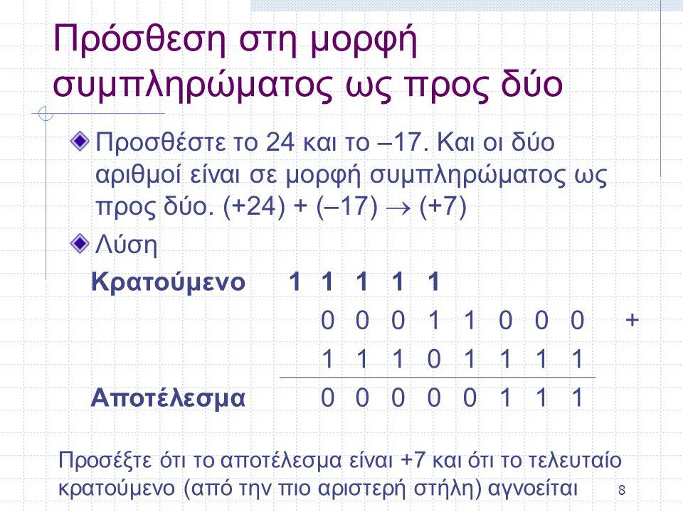 8 Πρόσθεση στη μορφή συμπληρώματος ως προς δύο Προσθέστε το 24 και το –17. Και οι δύο αριθμοί είναι σε μορφή συμπληρώματος ως προς δύο. (+24) + (–17)