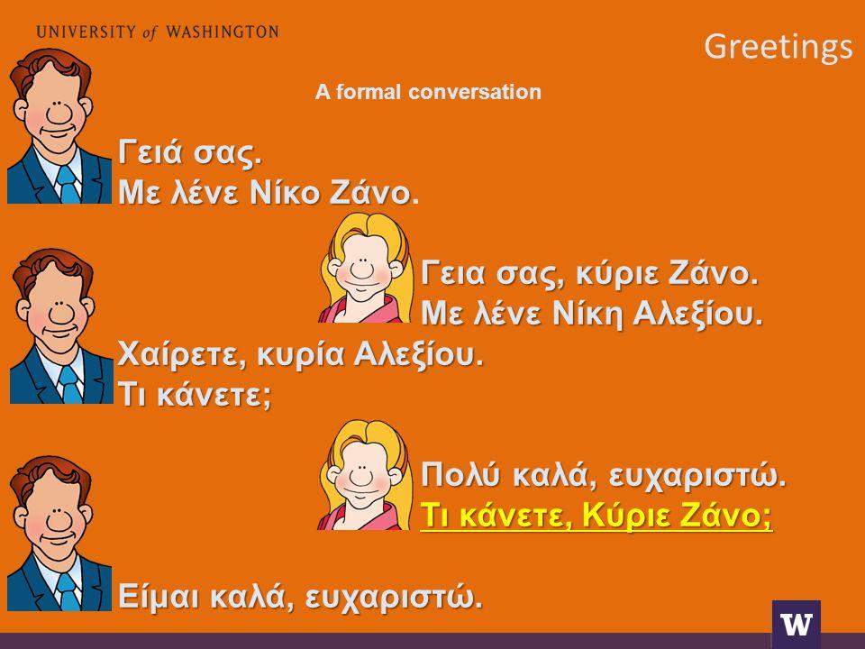 Greetings A formal conversation Γειά σας. Με λένε Νίκο Ζάνο Με λένε Νίκο Ζάνο.