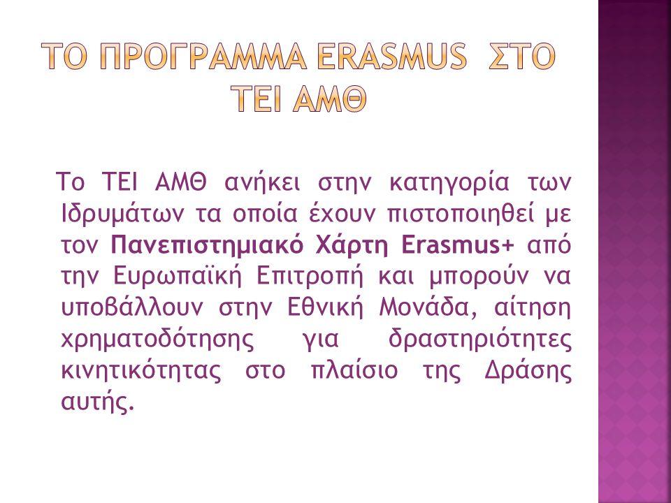 Το ΤΕΙ ΑΜΘ ανήκει στην κατηγορία των Ιδρυμάτων τα οποία έχουν πιστοποιηθεί με τον Πανεπιστημιακό Χάρτη Erasmus+ από την Ευρωπαϊκή Επιτροπή και μπορούν να υποβάλλουν στην Εθνική Μονάδα, αίτηση χρηματοδότησης για δραστηριότητες κινητικότητας στο πλαίσιο της Δράσης αυτής.