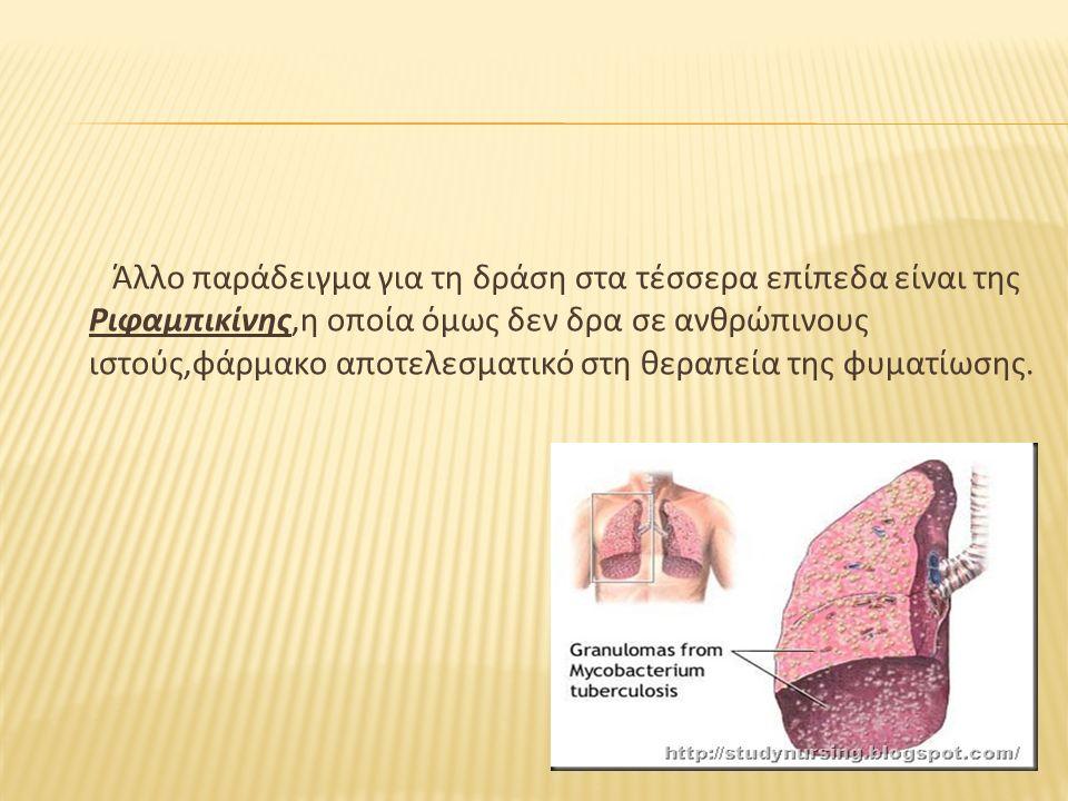 Άλλο παράδειγμα για τη δράση στα τέσσερα επίπεδα είναι της Ριφαμπικίνης,η οποία όμως δεν δρα σε ανθρώπινους ιστούς,φάρμακο αποτελεσματικό στη θεραπεία
