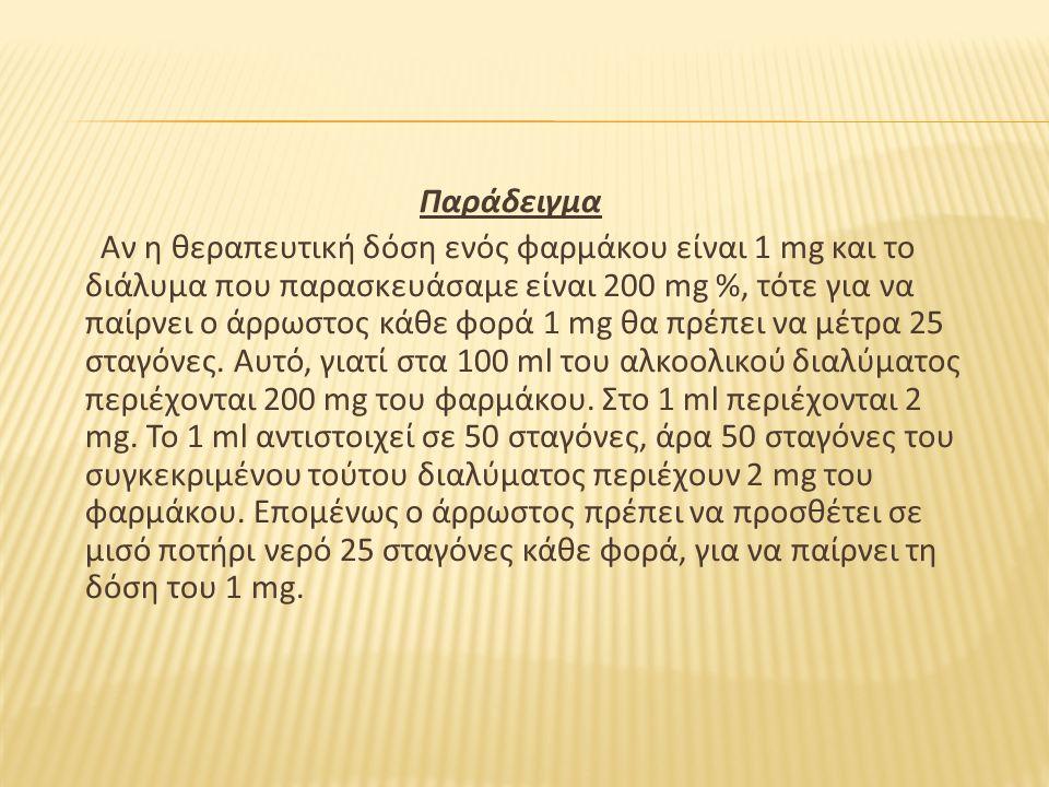 Παράδειγμα Αν η θεραπευτική δόση ενός φαρμάκου είναι 1 mg και το διάλυμα που παρασκευάσαμε είναι 200 mg %, τότε για να παίρνει ο άρρωστος κάθε φορά 1 mg θα πρέπει να μέτρα 25 σταγόνες.