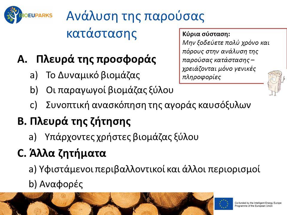 Συμμετοχή των ομάδων - στόχων Οι ομάδες – στόχοι (παραγωγοί, χρήστες, δημόσια διοίκηση, ιδιοκτήτες δασών, …..) πρέπει να αναγνωριστούν Συναντήσεις στρογγυλής τραπέζης πρέπει να οργανωθούν για την παρουσίαση της ιδέας και τη συλλογή παρατηρήσεων Θα πρέπει να παρουσιαστούν έργα σε διαφορετικά στάδια εξέλιξης σε διαφορετικές ομάδες στόχους – Συμμετοχή του τοπικού πληθυσμού και των υπεύθυνων λήψης αποφάσεων κρίσιμών για την επιτυχία Κύριο μήνυμα: Η παραγωγή και χρήση βιομάζας ξύλου θα μπορούσε επίσης να οργανωθεί σε προστατευόμενες περιοχές – χωρίς να βλάπτει το προστατευόμενο περιβάλλον