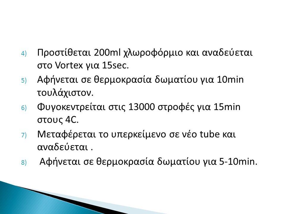 4) Προστίθεται 200ml χλωροφόρμιο και αναδεύεται στο Vortex για 15sec.