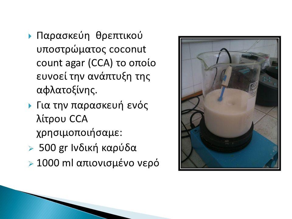  Παρασκεύη θρεπτικού υποστρώματος coconut count agar (CCA) το οποίο ευνοεί την ανάπτυξη της αφλατοξίνης.