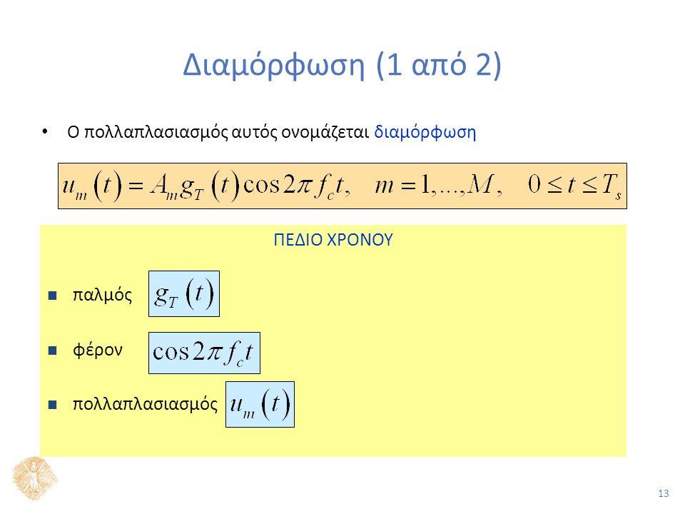 13 Διαμόρφωση (1 από 2) Ο πολλαπλασιασμός αυτός ονομάζεται διαμόρφωση ΠΕΔΙΟ ΧΡΟΝΟΥ παλμός φέρον πολλαπλασιασμός