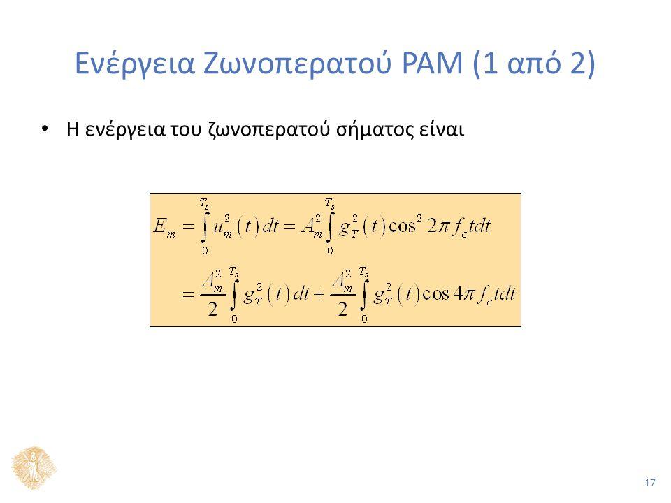 17 Ενέργεια Ζωνοπερατού PAM (1 από 2) Η ενέργεια του ζωνοπερατού σήματος είναι