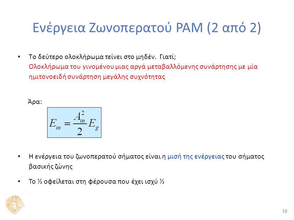 18 Ενέργεια Ζωνοπερατού PAM (2 από 2) Tο δεύτερο ολοκλήρωμα τείνει στο μηδέν.