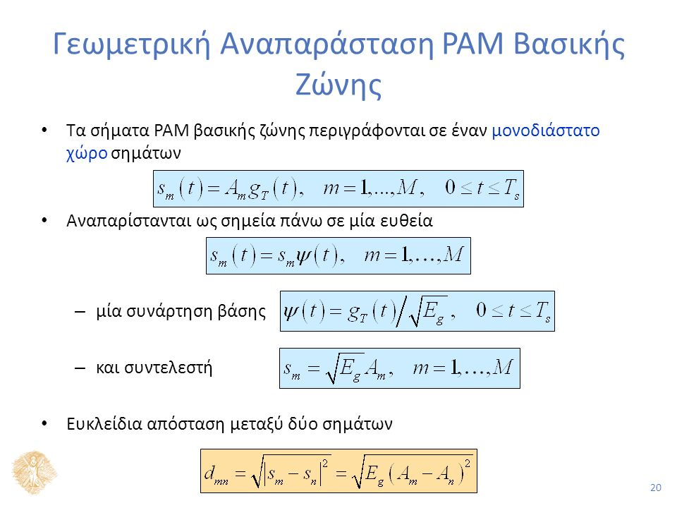 20 Γεωμετρική Αναπαράσταση PAM Βασικής Ζώνης Τα σήματα PAM βασικής ζώνης περιγράφονται σε έναν μονοδιάστατο χώρο σημάτων Αναπαρίστανται ως σημεία πάνω σε μία ευθεία – μία συνάρτηση βάσης – και συντελεστή Ευκλείδια απόσταση μεταξύ δύο σημάτων
