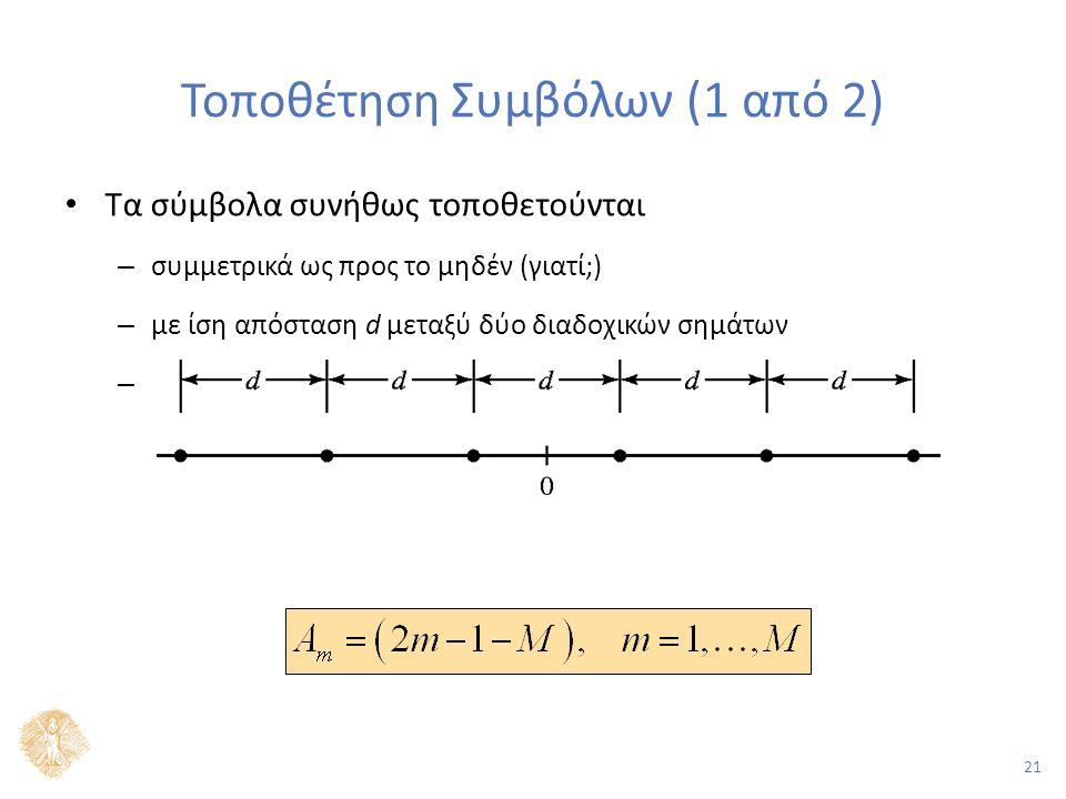 21 Τοποθέτηση Συμβόλων (1 από 2) Τα σύμβολα συνήθως τοποθετούνται – συμμετρικά ως προς το μηδέν (γιατί;) – με ίση απόσταση d μεταξύ δύο διαδοχικών σημάτων