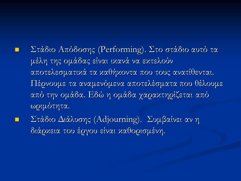 Στάδιο Απόδοσης (Performing).