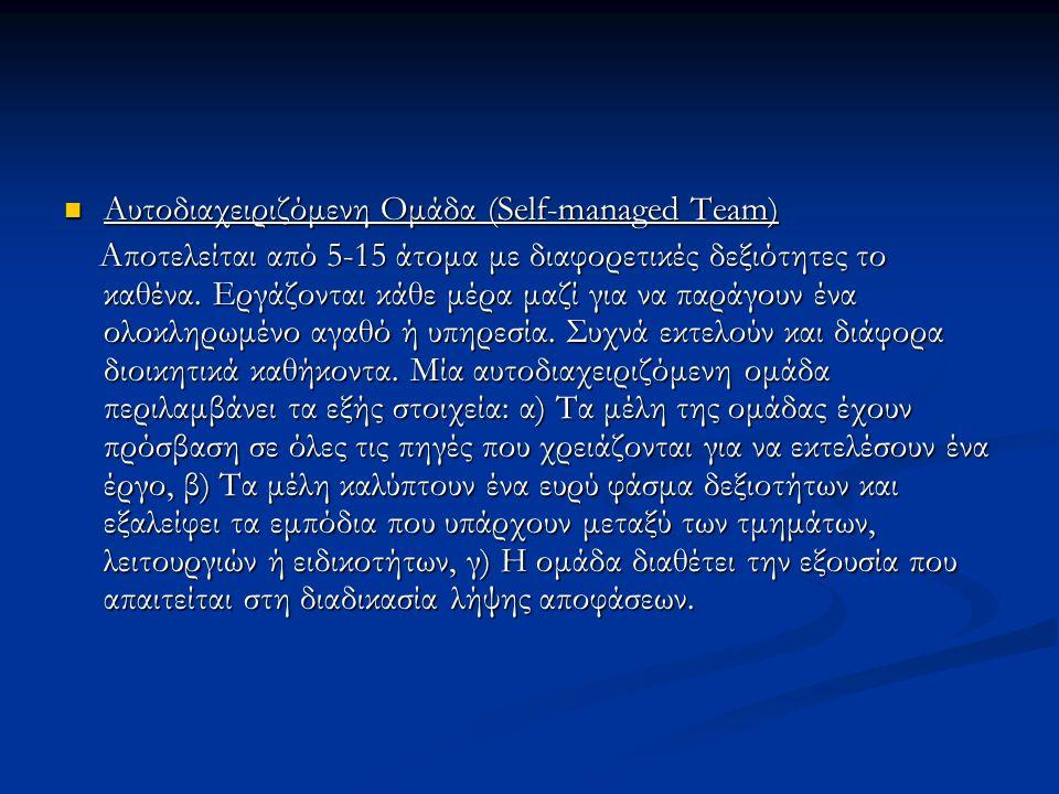 Αυτοδιαχειριζόμενη Ομάδα (Self-managed Team) Αυτοδιαχειριζόμενη Ομάδα (Self-managed Team) Αποτελείται από 5-15 άτομα με διαφορετικές δεξιότητες το καθ