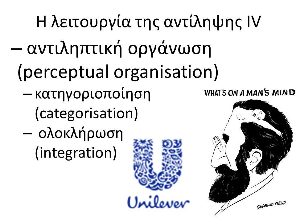 Η λειτουργία της αντίληψης IV – αντιληπτική οργάνωση (perceptual organisation) – κατηγοριοποίηση (categorisation) – ολοκλήρωση (integration)