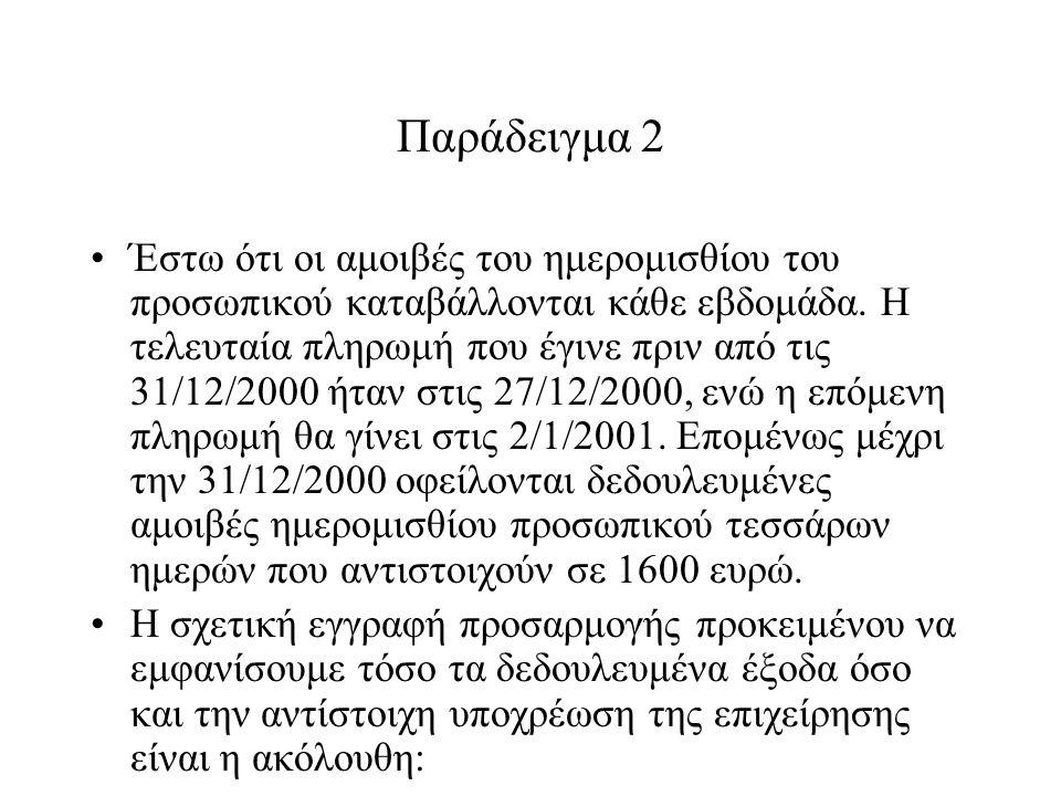 Παράδειγμα 2 Έστω ότι οι αμοιβές του ημερομισθίου του προσωπικού καταβάλλονται κάθε εβδομάδα.